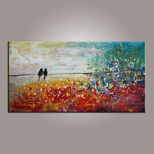 Living Room Wall Art, Canvas Art, Love Birds Painting, Modern Art, Painting for Sale, Contemporary Art, Flower Art, Abstract Art