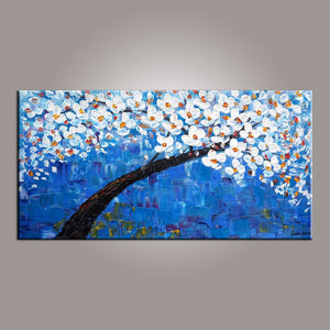 Flower Painting, Blue Flower Tree Painting, Canvas Art, Abstract Painting, Dining Room Wall Art, Art on Canvas, Modern Art, Contemporary Art-Paintingforhome