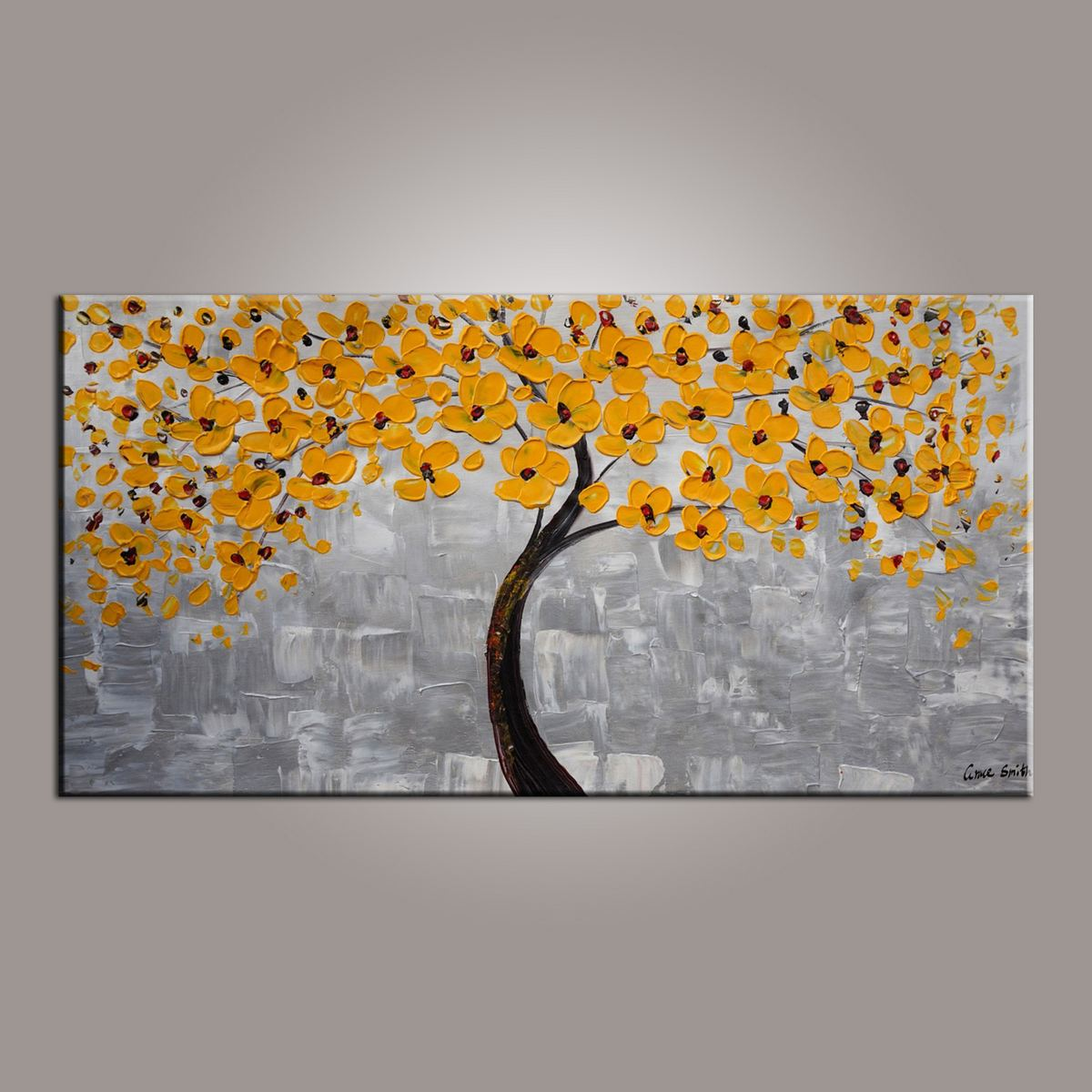 Flower Painting, Painting on Sale, Yellow Flower Tree Painting, Tree of Life Abstract Painting-Paintingforhome
