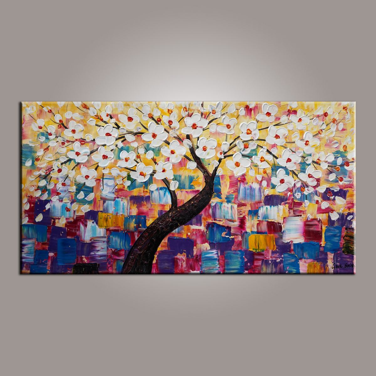 Painting on Sale, Canvas Art, Flower Tree Painting, Abstract Art Painting, Living Room Wall Art, Art on Canvas, Modern Art, Contemporary Art-Paintingforhome