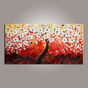Painting for Sale, Heavy Texture Painting, Flower Oil Painting, Abstract Art Painting, Bedroom Wall Art, Contemporary Art-Paintingforhome