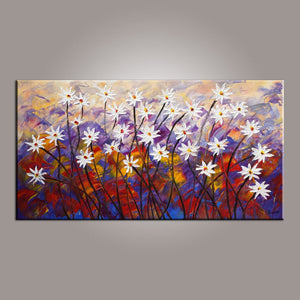 Painting for Sale, Flower Art, Abstract Art Painting, Spring Flower Painting, Canvas Wall Art, Bedroom Wall Art, Canvas Art, Modern Art, Contemporary Art