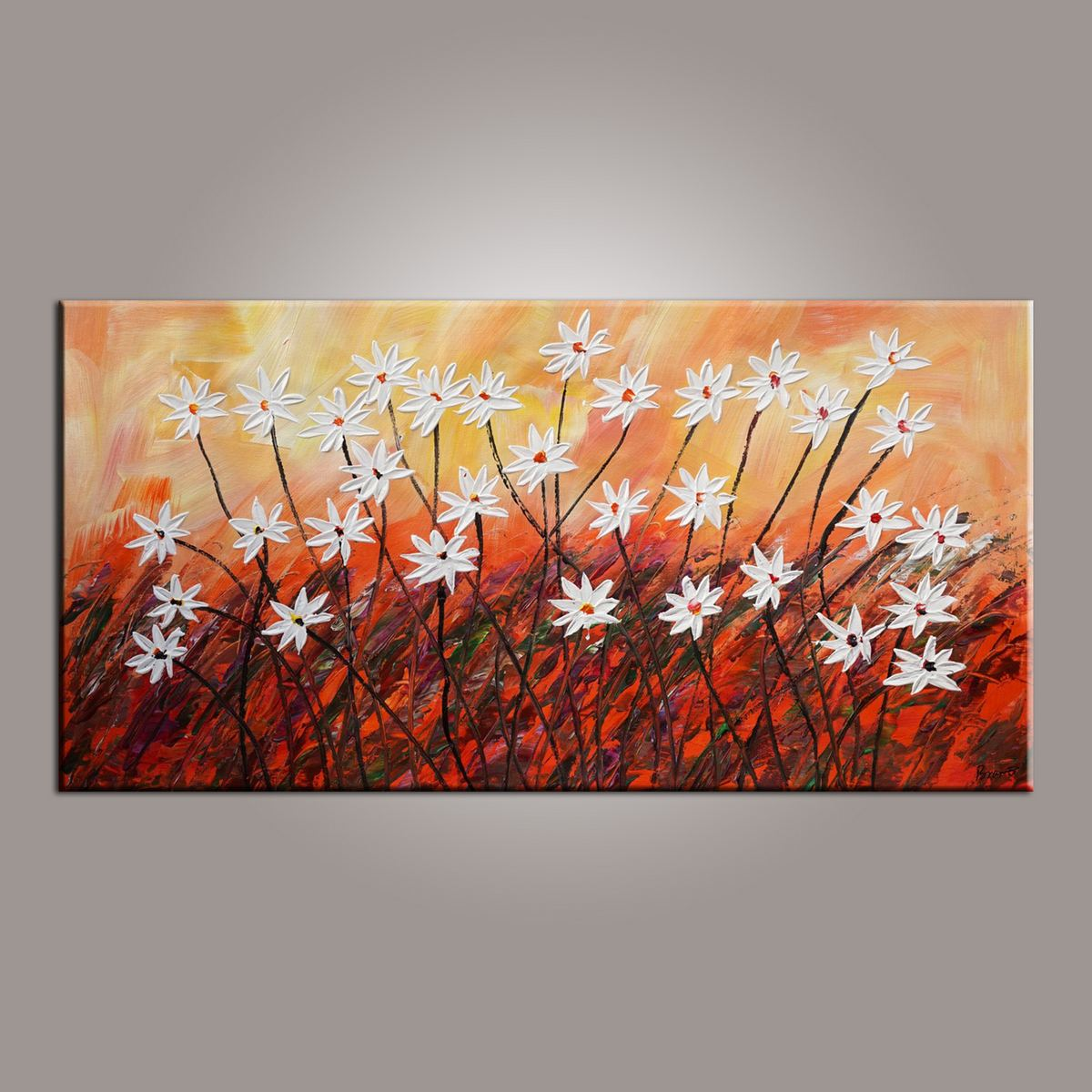 Flower Art, Abstract Art Painting, Acrylic Painting, Wall Painting, Canvas Wall Art, Bedroom Wall Art, Canvas Art, Modern Art, Contemporary Art-Paintingforhome