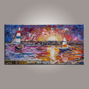 Wall Art Painting, Contemporary Art, Boat Painting, Abstract Art, Living Room Wall Art, Canvas Art, Art for Sale-Paintingforhome