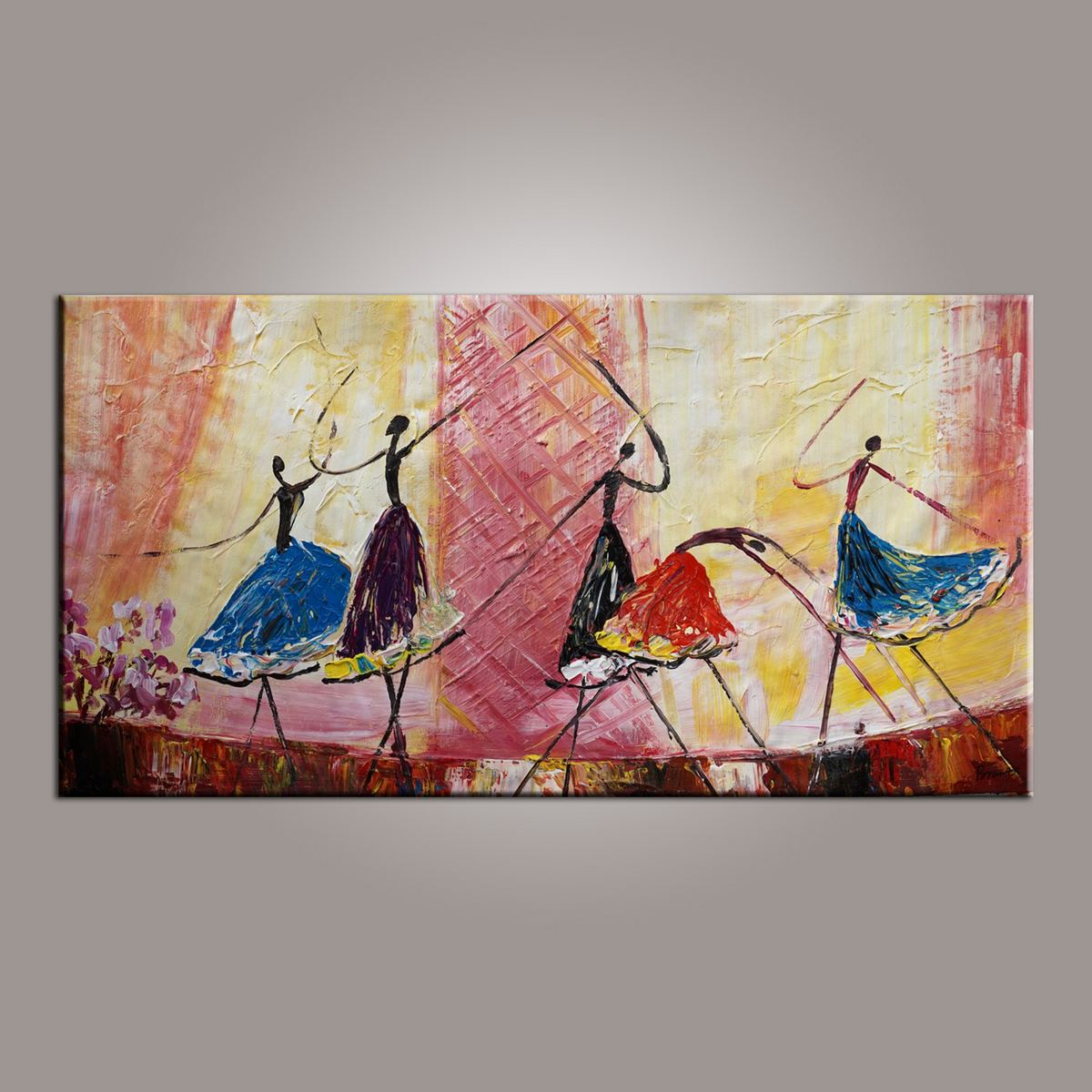 Ballet Dancer Art, Canvas Painting, Abstract Painting, Large Art, Abstract Art, Hand Painted Art, Bedroom Wall Art - Paintingforhome