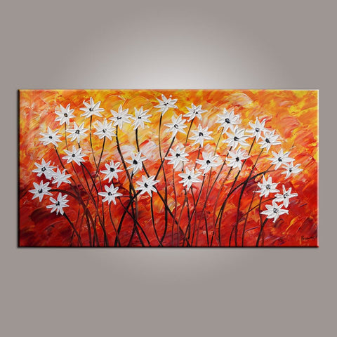 Canvas Wall Art, Flower Art, Abstract Art Painting, Acrylic Painting, Bedroom Wall Art, Canvas Art, Modern Art, Contemporary Art-Paintingforhome