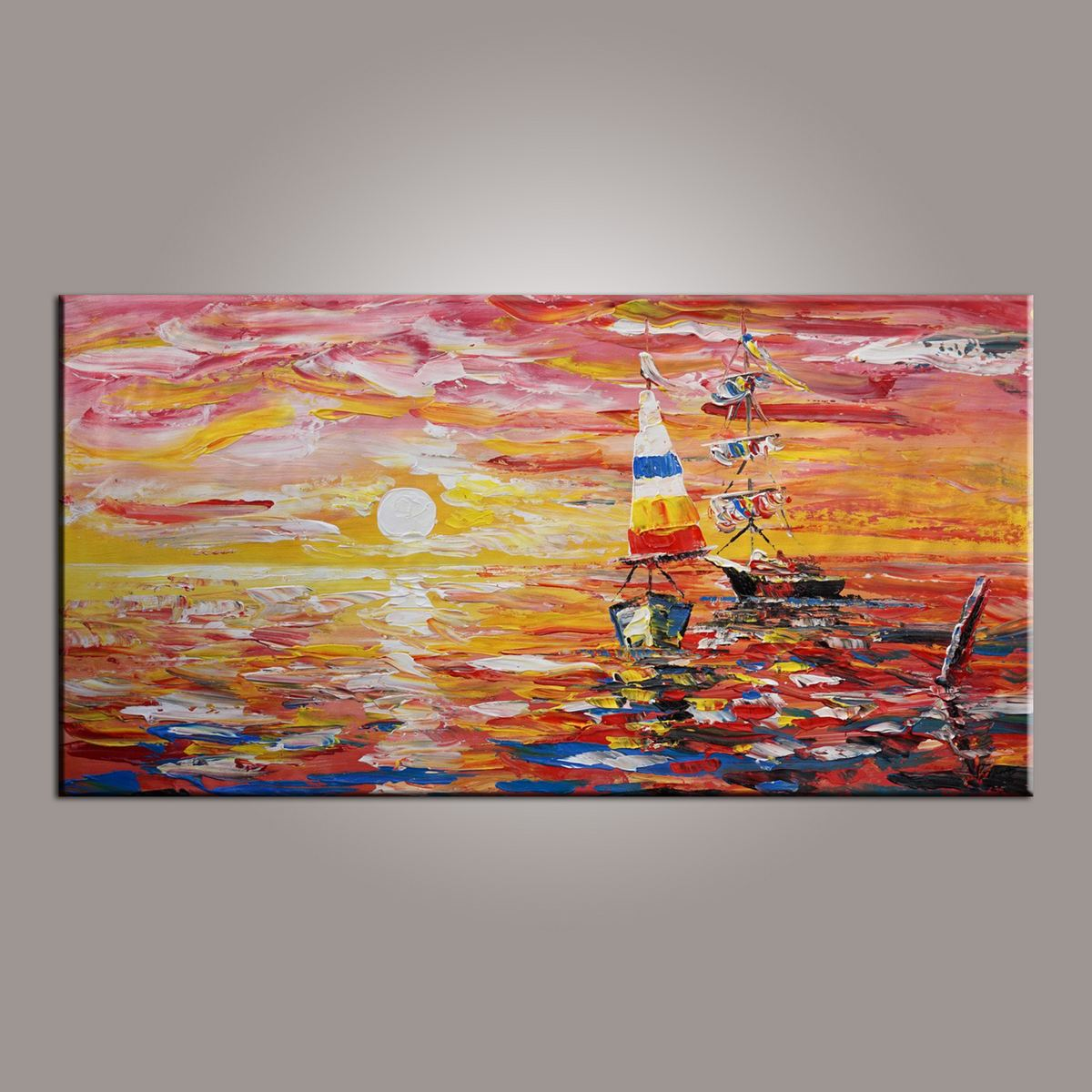 Contemporary Art, Boat Painting, Modern Art, Art Painting, Abstract Art, Living Room Wall Art, Canvas Art, Art for Sale-Paintingforhome