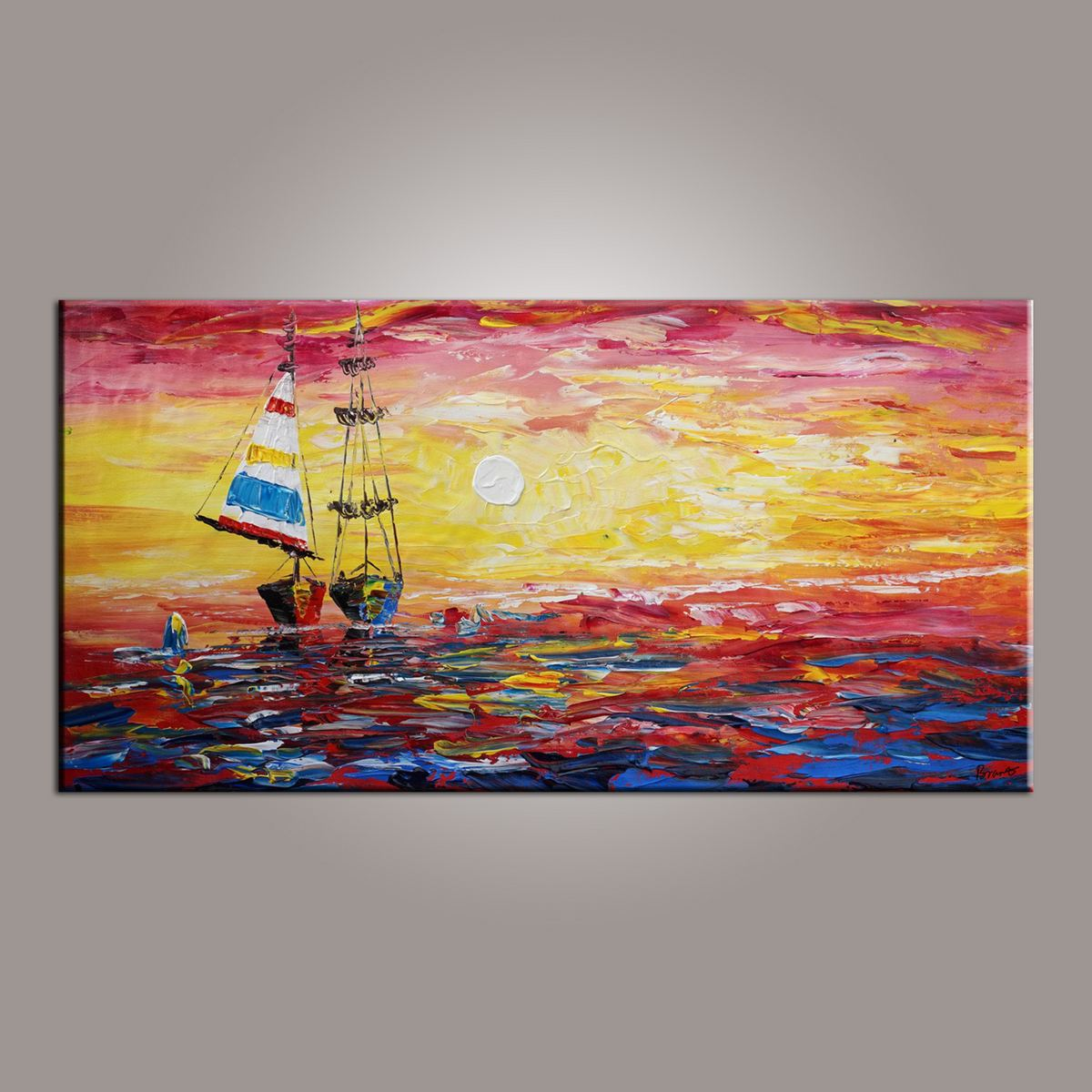 Dining Room Wall Art, Canvas Art, Art for Sale, Contemporary Art, Boat Painting, Modern Art, Art Painting, Abstract Art-Paintingforhome