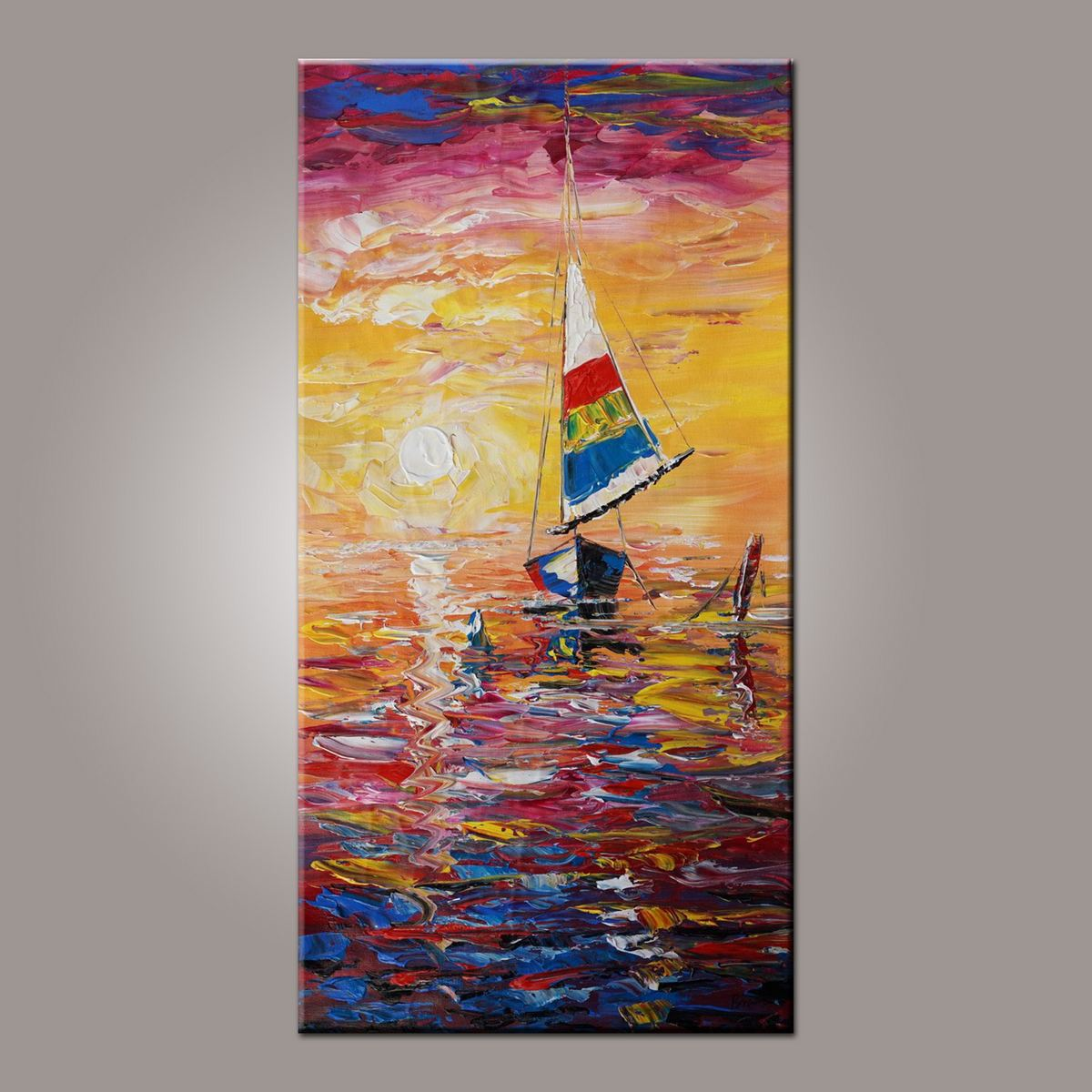 Wall Art, Art Painting, Contemporary Art, Boat Painting, Abstract Art, Abstract Art Painting, Living Room Wall Art, Canvas Art-Paintingforhome