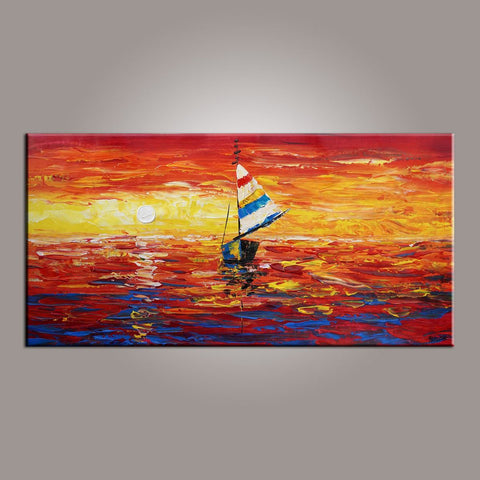 Contemporary Art, Art on Canvas, Boat Painting, Modern Art, Art Painting, Abstract Art, Dining Room Wall Art, Canvas Art, Art for Sale-Paintingforhome