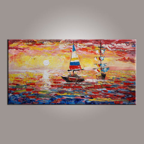 Modern Art, Contemporary Art, Art on Canvas, Boat Painting, Art Painting, Abstract Art, Living Room Wall Art, Canvas Art, Art for Sale