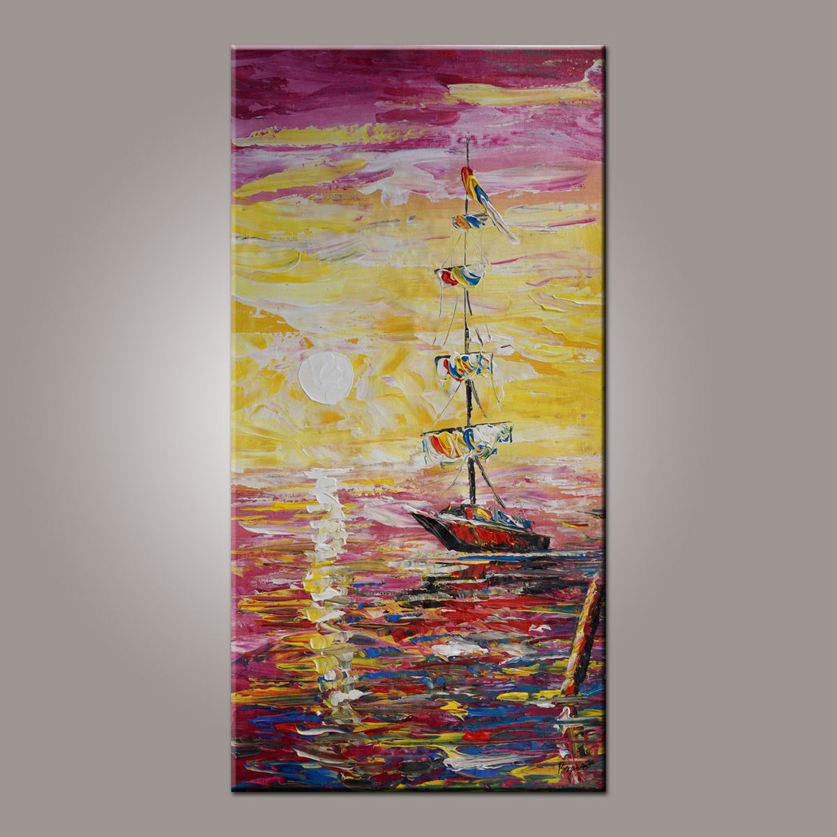 Wall Art, Boat Painting, Contemporary Art, Art on Canvas, Art Painting, Abstract Art, Living Room Wall Art, Canvas Art, Art for Sale