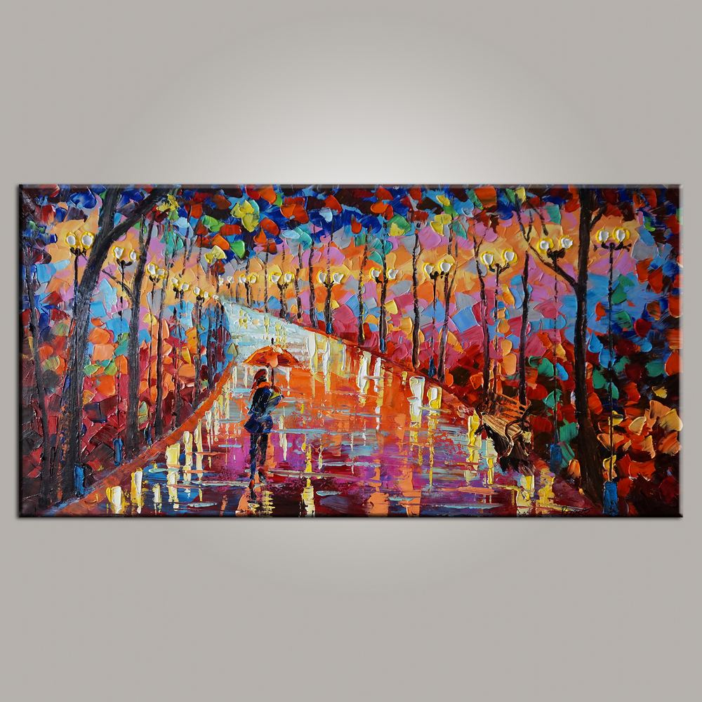 Living Room Wall Art, Canvas Art, Forest Park Painting, Modern Art, Painting for Sale, Contemporary Art, Abstract Art