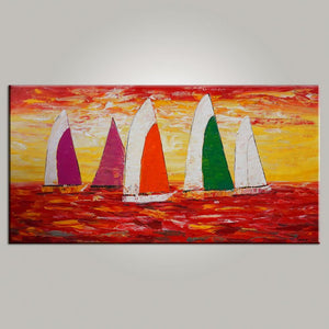 Contemporary Art, Sail Boat Painting, Abstract Art, Painting for Sale, Canvas Art, Living Room Wall Art, Modern Art