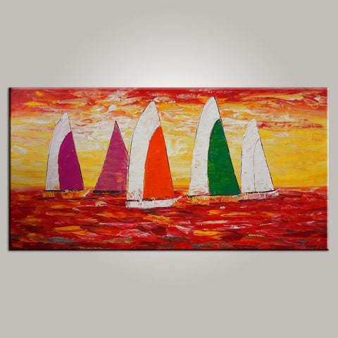 Contemporary Art, Sail Boat Painting, Abstract Art, Painting for Sale, Canvas Art, Living Room Wall Art, Modern Art-Paintingforhome