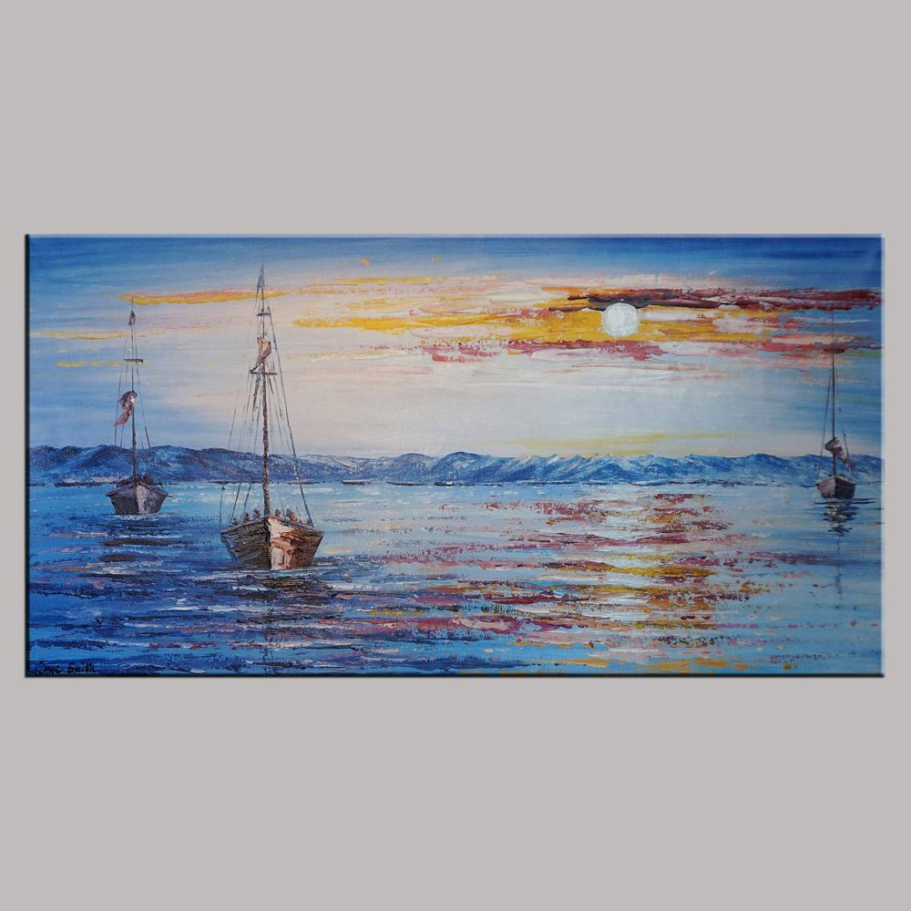 Wall Art, Sail Boat Art, Abstract Art Painting, Abstract Landscape Painting, Canvas Wall Art, Bedroom Wall Art, Canvas Art, Modern Art, Contemporary Art