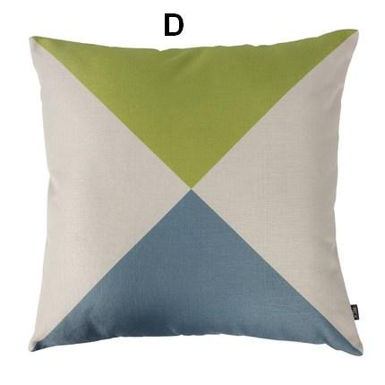 Geometric Design Cotton and linen Pillow Cover, Decorative Throw Pillow, Sofa Pillows-Paintingforhome