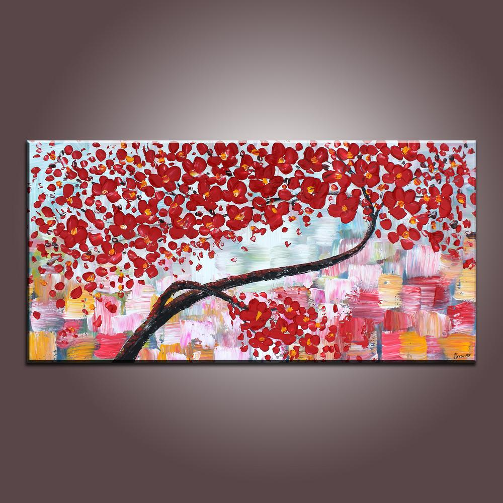 Flower Art, Acrylic Painting, Contemporary Art, Abstract Art Painting, Canvas Wall Art, Bedroom Wall Art, Canvas Art, Modern Art, Contemporary Art-Paintingforhome