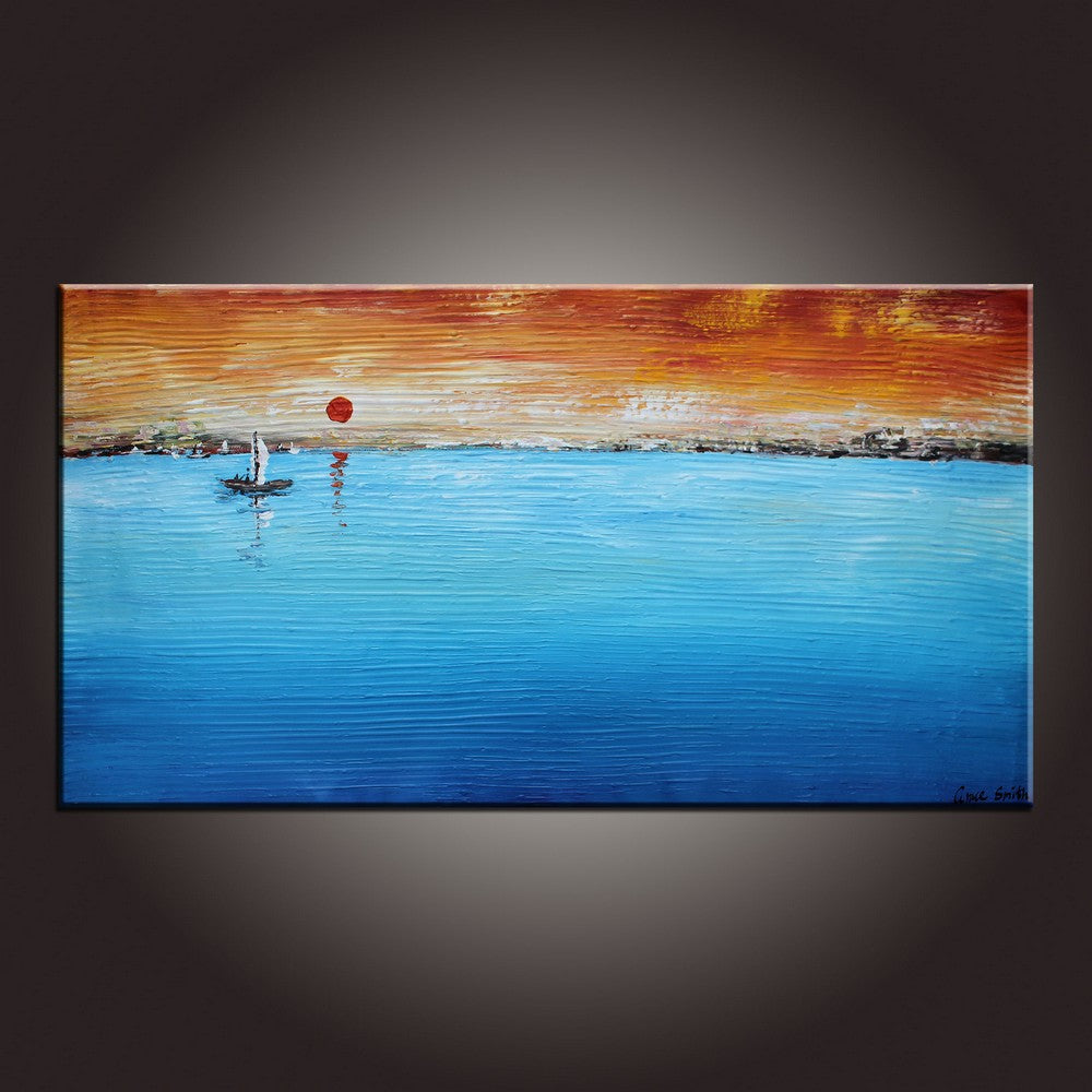 Abstract Artwork, Sunrise Painting, Landscape Painting, Framed Canvas Painting, Contemporary Art, Abstract Art Painting-Paintingforhome