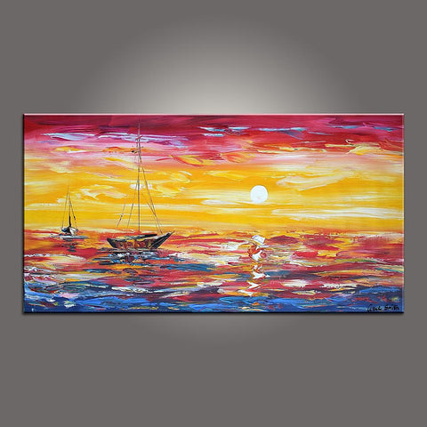 Contemporary Art, Boat Painting, Modern Art, Art Painting, Abstract Art, Abstract Art Painting, Living Room Wall Art, Canvas Art - Paintingforhome