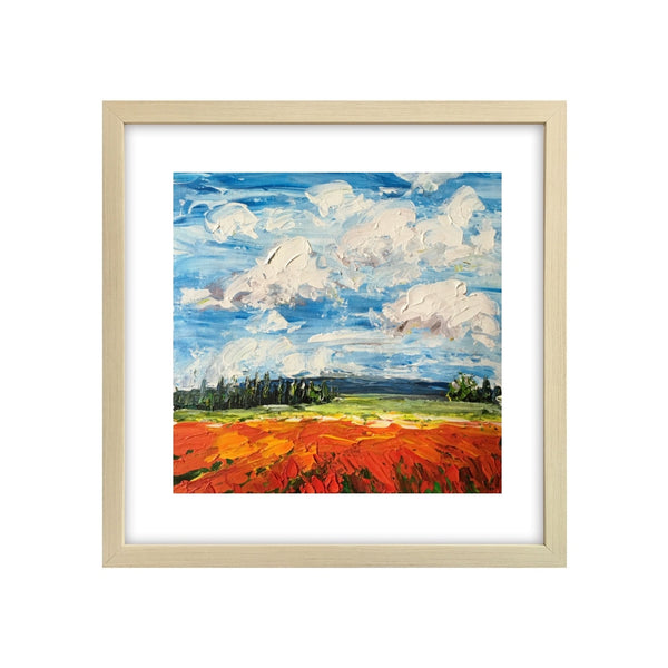 Abstract Art Painting, Canvas Painting, Red Poppy Field Painting, Small Art Painting-Paintingforhome
