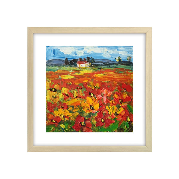 Abstract Landscape Painting, Red Poppy Field Painting, Flower Painting, Small Canvas Painting-Paintingforhome