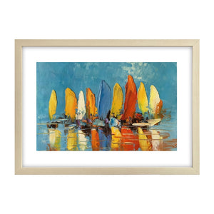 Abstract Painting, Heavy Texture Oil Painting, Sail Boat Painting, Small Painting-Paintingforhome