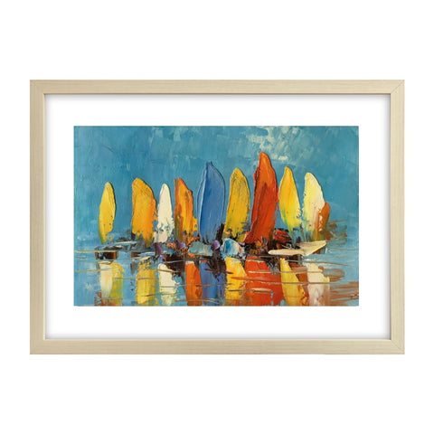Abstract Painting, Heavy Texture Oil Painting, Sail Boat Painting, Small Painting