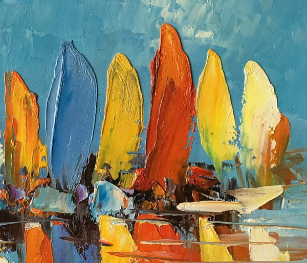 Abstract Painting, Heavy Texture Oil Painting, Sail Boat Painting, Small Painting - Paintingforhome