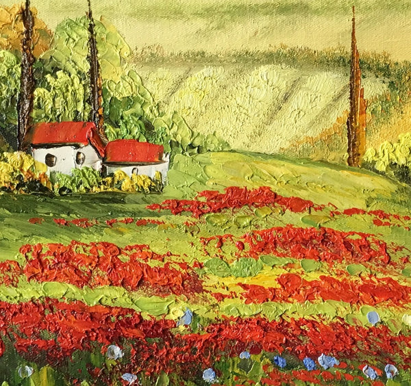 Red Poppy Field Painting, Landscape Art Painting, Canvas Painting, Small Painting-Paintingforhome