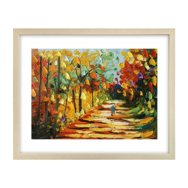Landscape Painting, Heavy Texture Painting, Autumn Tree Painting, Small Painting-Paintingforhome