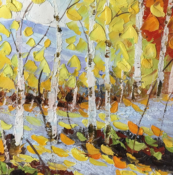 Original Painting, Birch Tree Painting, Small Art Painting, Canvas Art Painting-Paintingforhome
