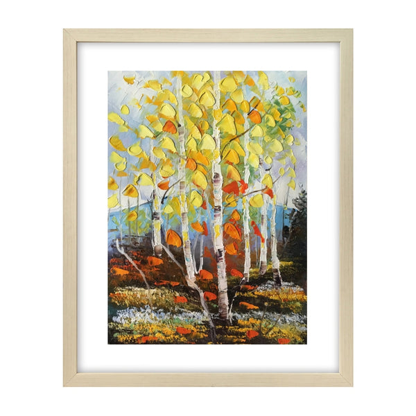Small Landscape Painting, Heavy Texture Painting, Birch Tree Painting, Small Art-Paintingforhome