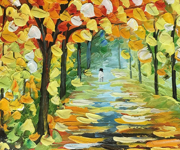 Original Painting, Forest Landscape Painting, Autumn Tree Painting, Small Art Painting-Paintingforhome