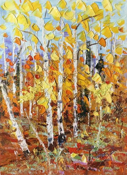 Original Painting, Landscape Painting, Birch Tree Painting, Small Art, Heavy Texture Painting-Paintingforhome