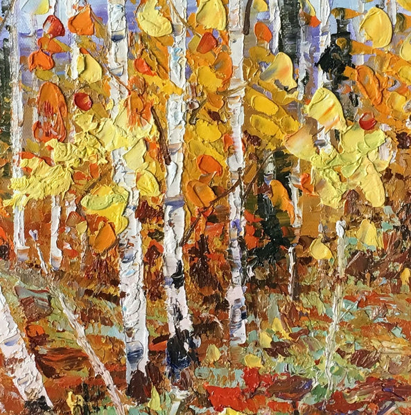Original Painting, Landscape Painting, Birch Tree Painting, Small Art, Heavy Texture Painting