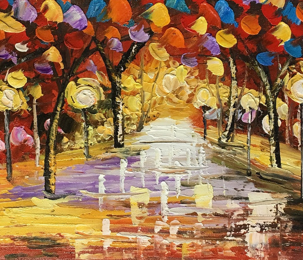 Landscape Painting,  Original Painting, Autumn Tree Painting, Small Art, Heavy Texture Painting