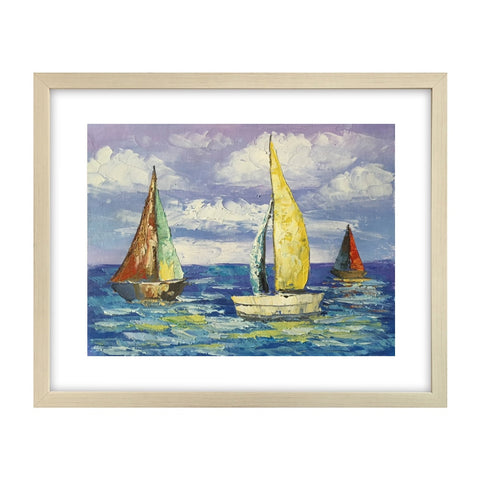Modern Art, Canvas Art Painting, Sail Boat Painting, Original Painting, Small Art Painting