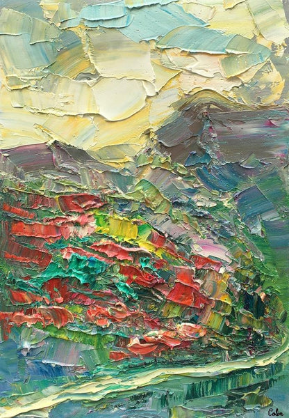 Canvas Painting, Mountain Flower Field Painting, Heavy Texture Oil Painting, Original Small Painting, 10X15 inch