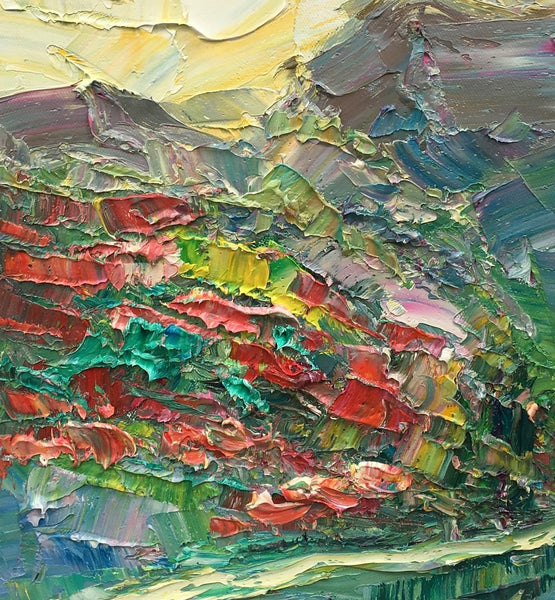 Abstract Canvas Painting, Mountain Flower Field Painting, Heavy Texture Oil Painting, Original Small Painting, 10X15 inch-Paintingforhome