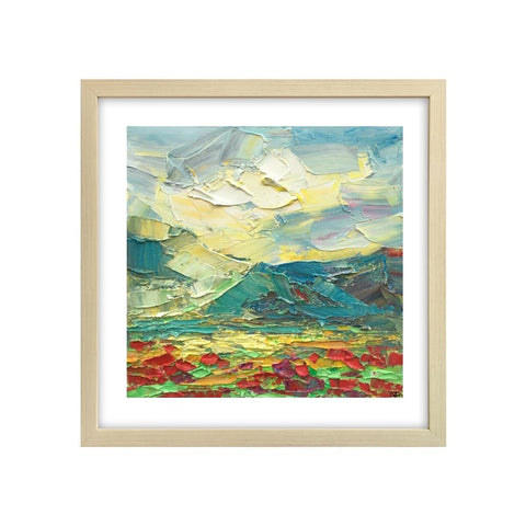 Heavy Texture Oil Painting, Mountain and Flower Painting, Abstract Painting, Small Painting, 12X12 inch