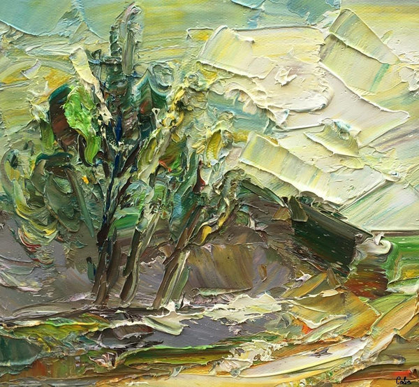 Small Painting, Heavy Texture Oil Painting, Mountain Tree Painting, 10X11 inch