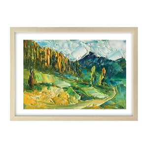 Small Painting, Heavy Texture Oil Painting, Mountain Tree Painting, 9X13 inch-Paintingforhome