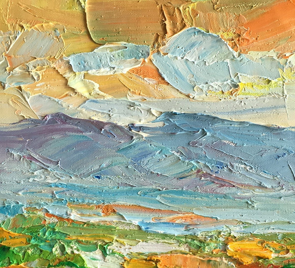 Small Oil Painting, Heavy Texture Oil Painting, Mountain Landscape Painting, Original Artwork-Paintingforhome