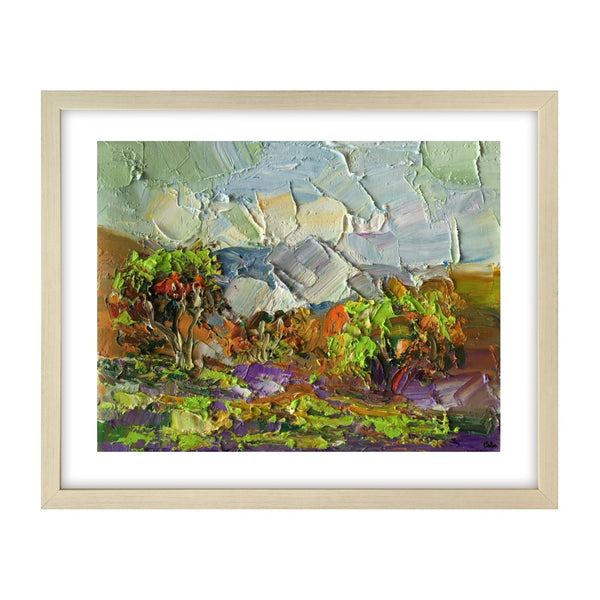 Heavy Texture Oil Painting, Mountain Tree Landscape Painting, Abstract Landscape Art Painting, Small Oil Painting-Paintingforhome