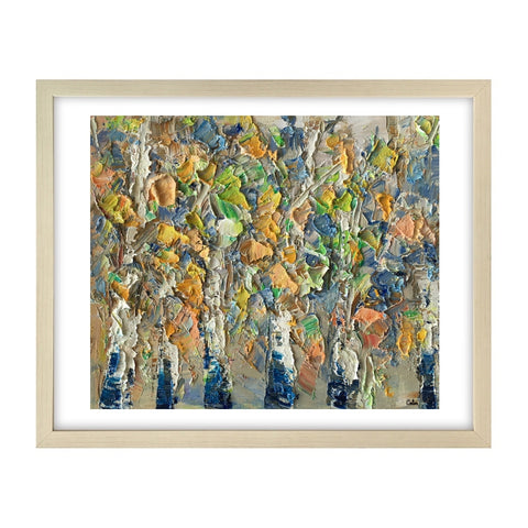 Heavy Texture Oil Painting, Autumn Tree Painting, Small Oil Painting, Abstract Painting-Paintingforhome