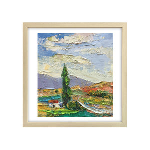 Landscape Painting, Cypress Tree Painting, Small Oil Painting, Heavy Texture Oil Painting