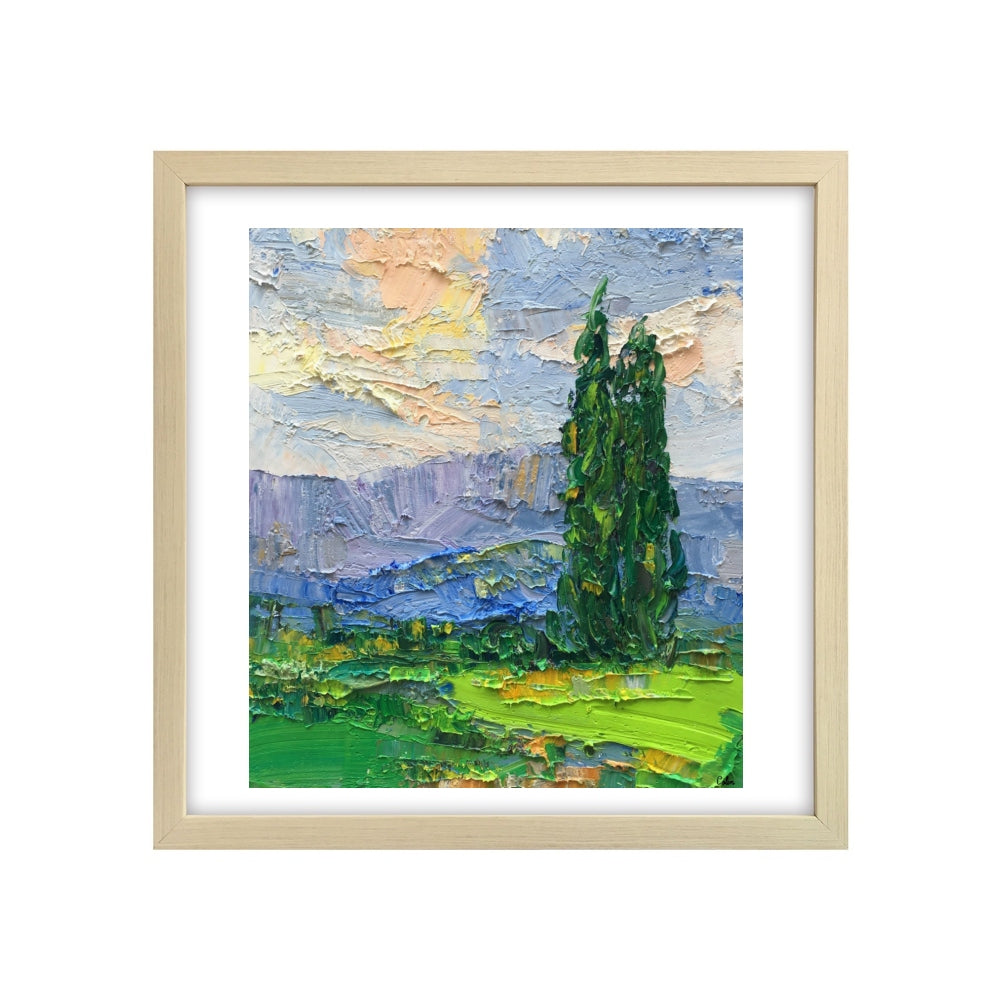 Small Oil Painting, Heavy Texture Oil Painting, Cypress Tree Painting, Abstract Painting