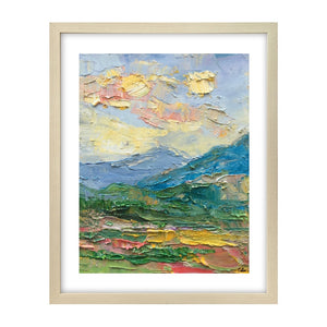 Abstract Landscape Painting, Mountain Sky Painting, Small Oil Painting, Heavy Texture Oil Painting