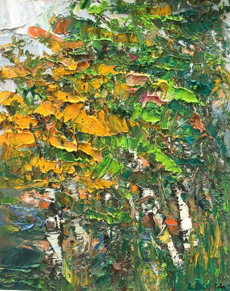 Abstract Painting, Forest Tree Painting, Small Oil Painting, Heavy Texture Oil Painting
